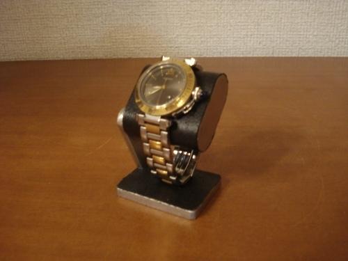 父の日に コンパクトだ円腕時計スタンド ベルトブラック台座接触バージョン