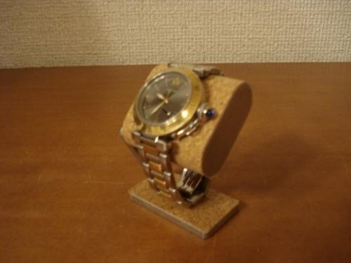 父の日に コンパクトだ円腕時計スタンド ベルトコルク台座接触バージョン