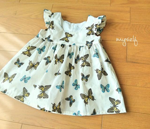 【size110】蝶々のギャザーチュニック