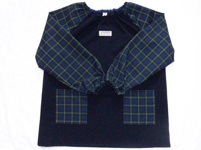 長袖スモック・140〜150/紺・緑紺黄チ...