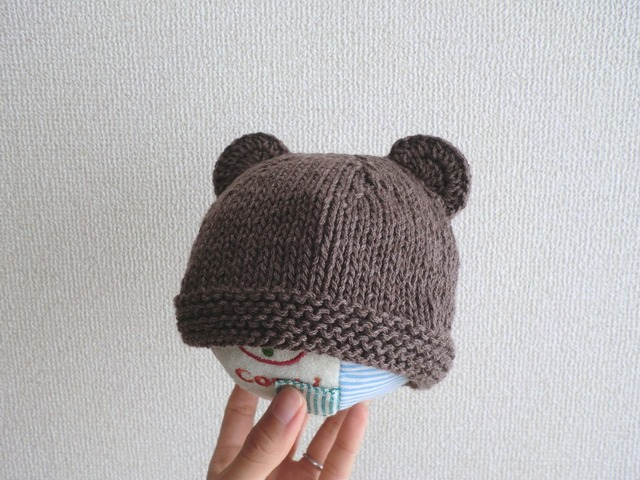 ★n様ご予約品★コットンウールのくま耳帽子 42cm ブラウン