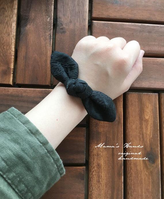 ブラック 黒 変わり織り リボン ヘアゴム♪