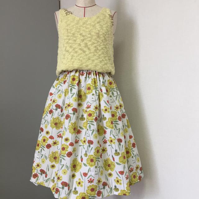 fbb012c9557e6 kai's》USA輸入生地大人イエローの花柄ギャザースカート | ハンドメイド ...