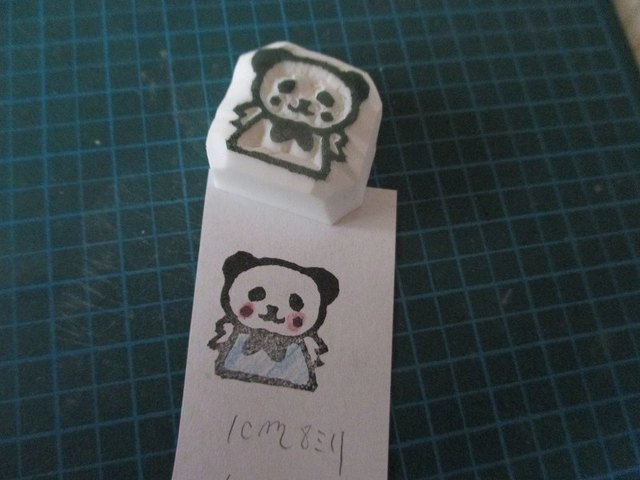 消しゴムはんこ☆パンダちゃんお願い☆笑顔バージョン