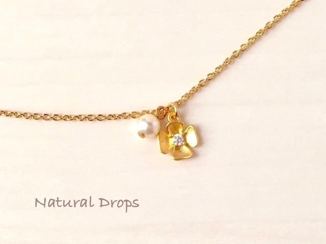 小花とパールのネックレス・・・478
