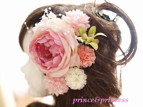 成人式に*ピンクローズの髪飾りセット