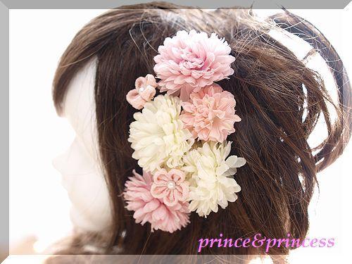 ピンクと白マムの髪飾り