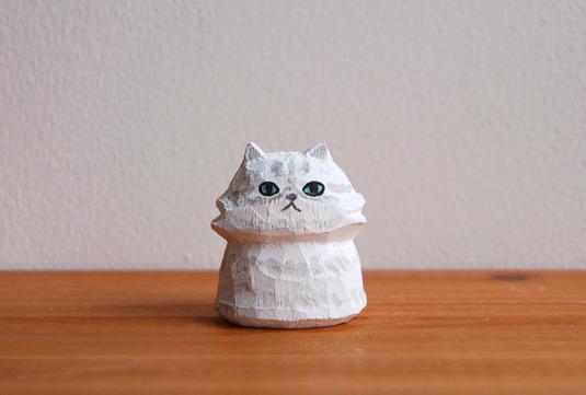 木彫り人形 ネコ ペルシャ 白 [MWF-009]