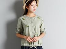 夏 グリーン 雛菊 刺繍 クルーネック かわい シャツ ブラウス 14