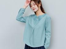 夏 花 刺繍 ゆったり ?袖 麻綿 Tシャツ vネック ブラウス 19