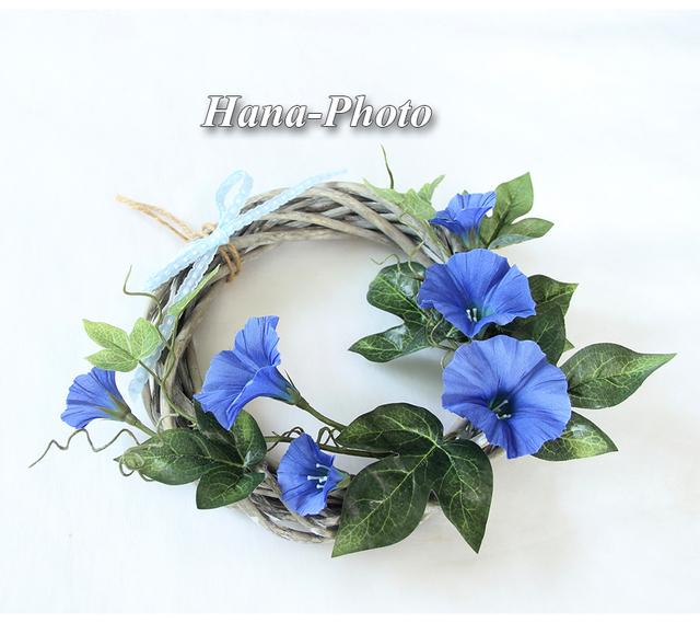 084) 藍色のアサガオのリース  リース...