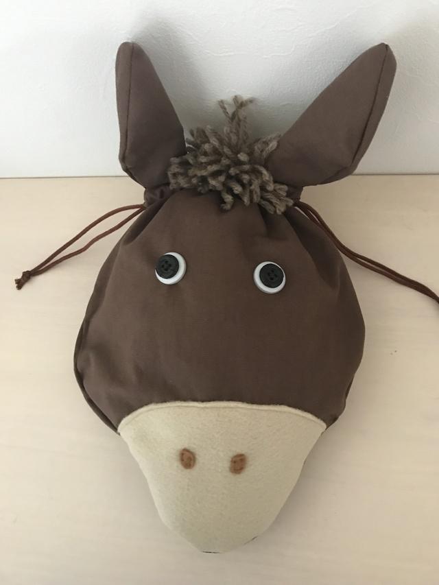 お馬さんの巾着(グレーのたてがみ)