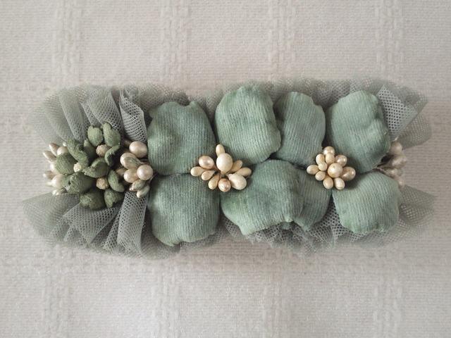 染め花の紫陽花バレッタ(グレーグリーン)