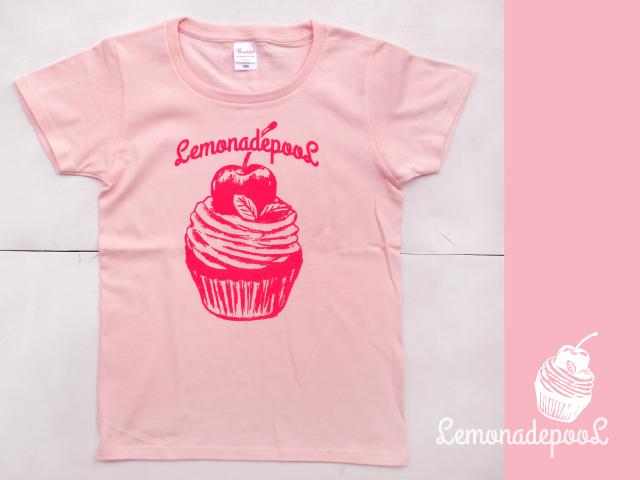 カップケーキ柄Tシャツ/チェリーピンク