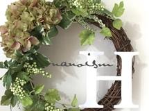 Hydrangea Wreath 〜紫陽花のドアリース〜 あなたのイニシャル付けます。