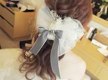 オフホワイトチュール&ボーダーリボンかすみ草のヘッドドレス?