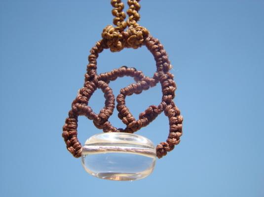 天然石 水晶 マクラメ編みネックレス