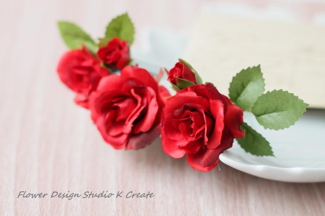 受注製作:赤い薔薇のヘッドドレス(3...