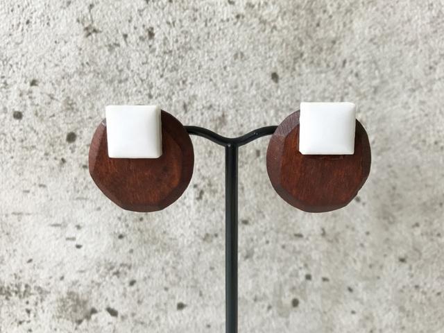 W tile × D wood earring (NO.3272)