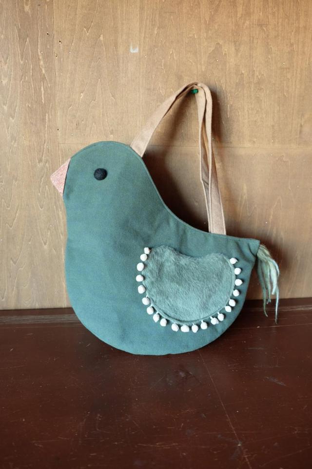 鳥さんトートバッグ ロング L 起毛ミントブルーグリーン
