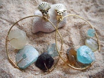 Roman Glass Sea Form hoop earrings