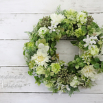 送料無料*Green&WhiteWreath30