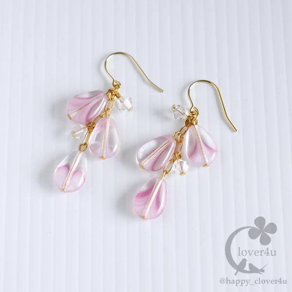 ピンクドロップのピアス/p757