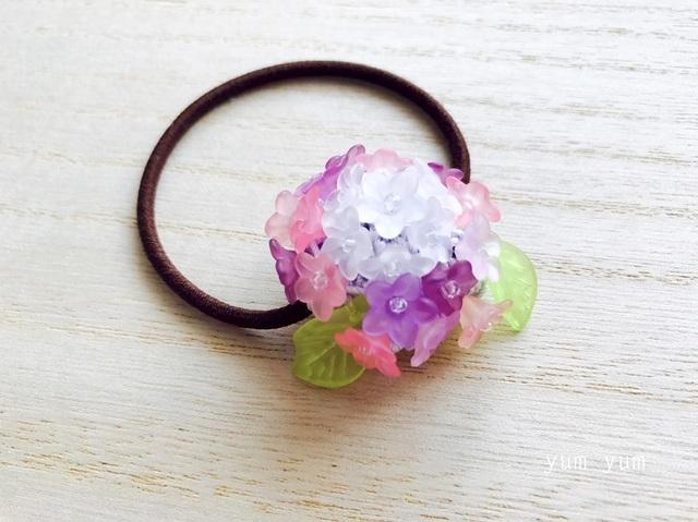 艶やか紫陽花ヘアゴム2
