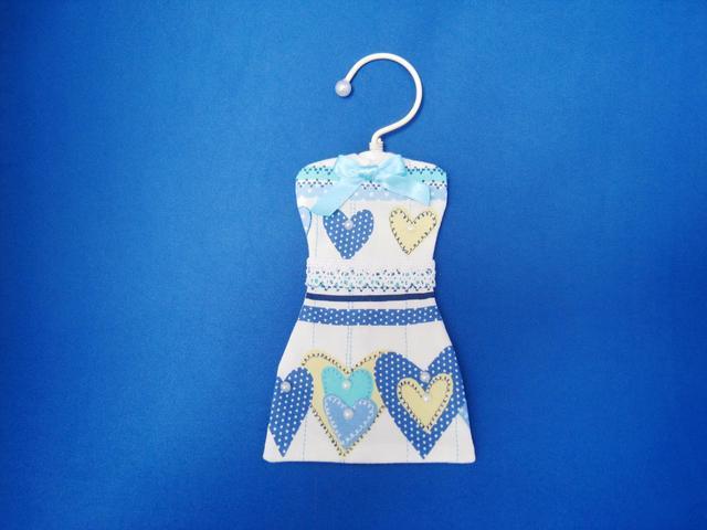 ワンピース型サシェ (Blue Heart)