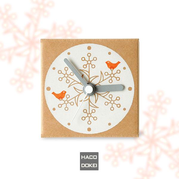 ダンボールの時計|はこどけい|雪華鳥(オレンジ)