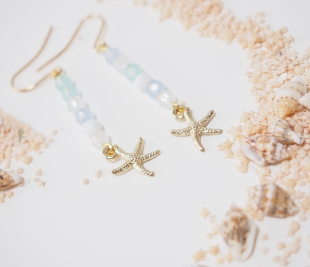 sea and starfish ピアス