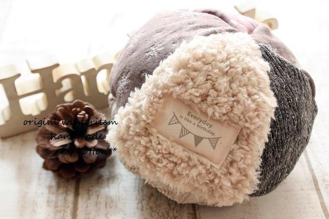 5枚パッチどんぐり帽子*50cm*雪の結晶モカ