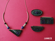 [4種] curve necklace/black