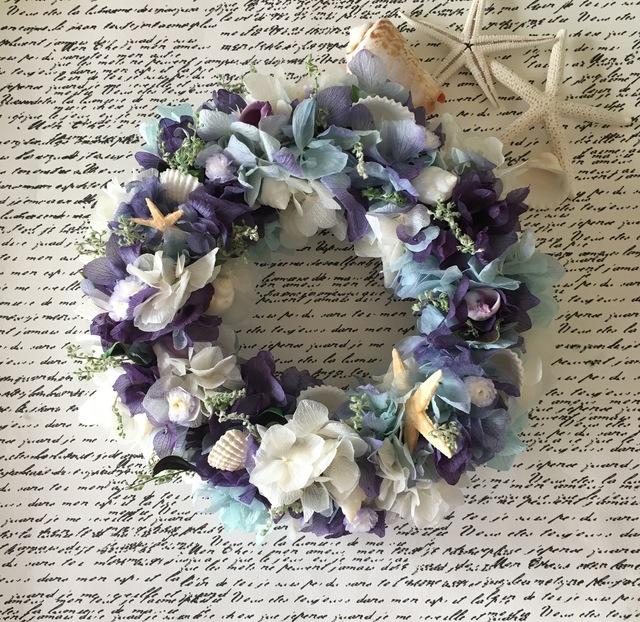 夏の紫陽花リース