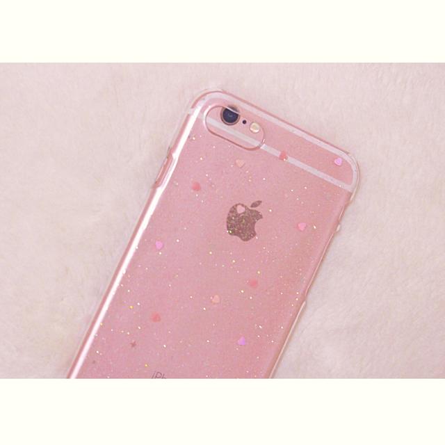 うっすらピンクiPhoneケース(ピンクのハート)   ハンドメイド ...