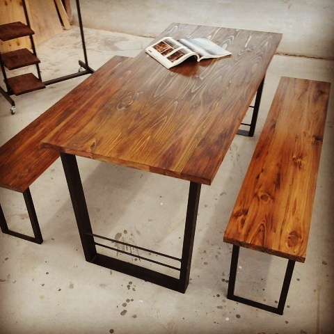 ダイニングテーブル\u0026130cmのベンチ2脚セット