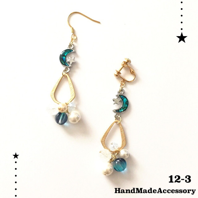 Blue Moon パールじゃらじゃら earring/...