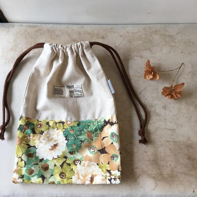 コットンリネンと花柄☆巾着袋(BA-056)