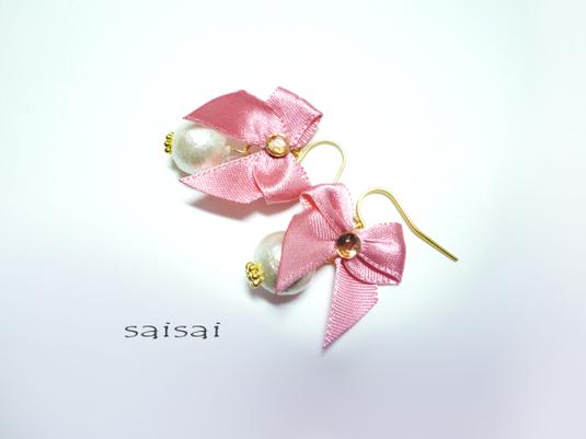 pinkribbonコットンパールピアス