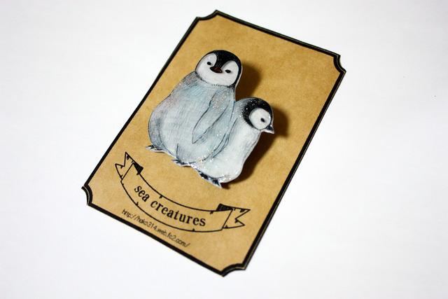 プラ版ブローチ【コウテイペンギン雛】(売り切れ)