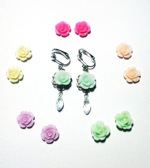 薔薇と雫 (ピアスへの無料変更可)