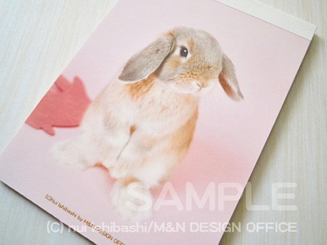うさぎ(写真)のメモ帳4(背景ピンク)