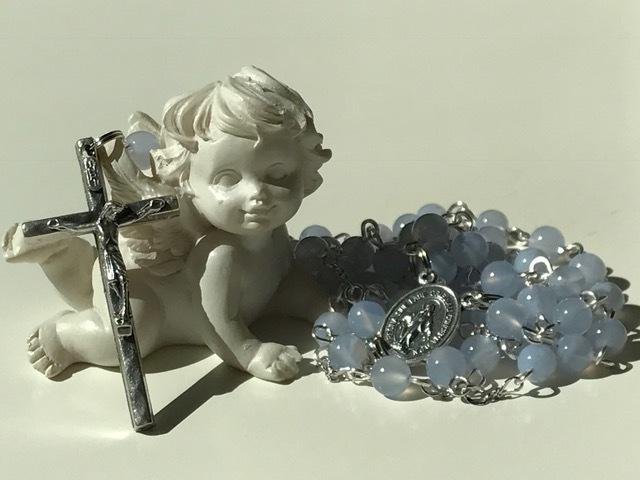 天然色ブルーカルセドニーのロザリオ