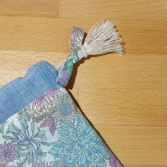 大人かわいい巾着袋(裏付き)タッセル紐