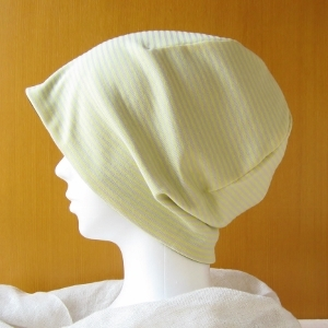 ゆるいリバーシブル帽子 黄ボーダー/茶(CSR-009-Y)