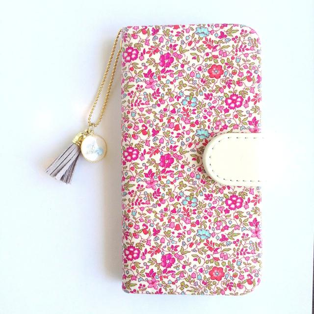 リバティiphone6 6S手帳型ケース ケイティ&ミリィ(イニシャル&誕生石 タッセルストラップ付き)