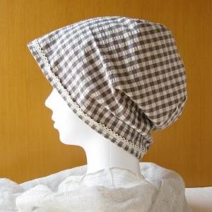 夏に涼しく下地にもなる ゆったりガーゼ帽子 茶チェック/ベージュ水玉(CGL-003-C)