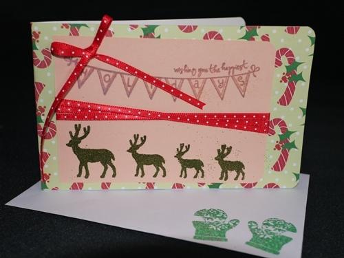 クリスマスカード011 トナカイxリボン