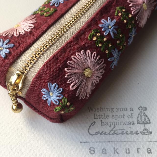 お花の刺繍 * ペンケース