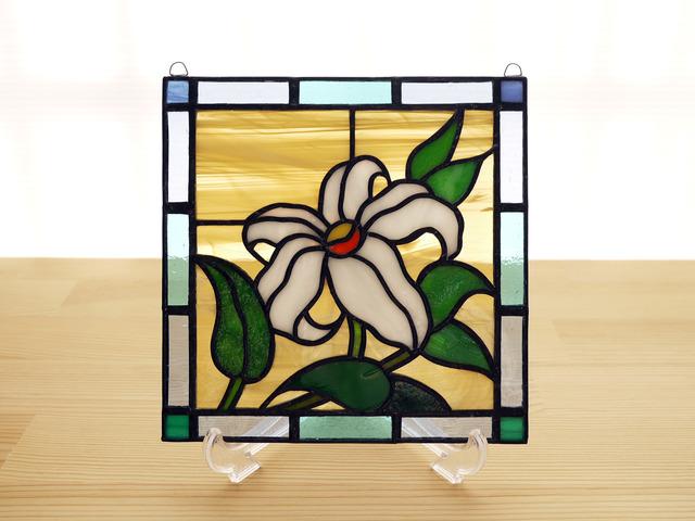 ステンドグラス ミニパネル 野ゆり 15cm